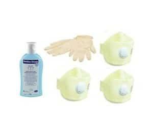 Infectiebeschermingsset FFP3 mondmasker desinfectiemiddel en handschoenen