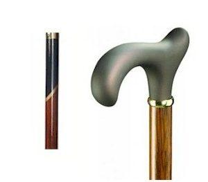 Luxe uitvoering houten wandelstok met softgrip handvat