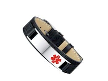 MediSieraad armband leder met rvs plaatje incl. gravering