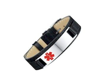Medisieraad armband leder met RVS plaatje incl. gravure