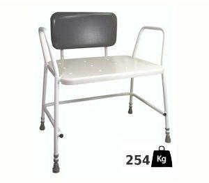 Xl douchestoel met armleuningen en zachte rugleuning- belastbaar tot 254 kilo