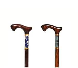 houten wandelstok met kleurdetail