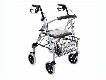 Lichtgewicht vierwiel rollator met rugsteun