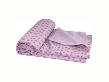 Siliconen Yoga handdoek met anti slip - zachtroze met draagtas