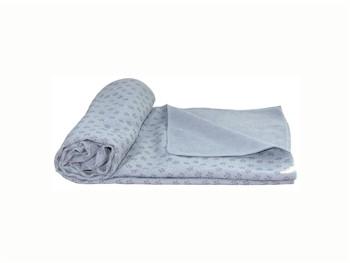 Siliconen Yoga handdoek met anti slip - grijs met draagtas
